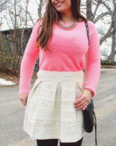 La Petite Fashionista: Pink Sweater, Statement Necklace + Sequins