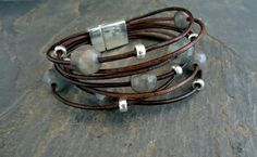 """Labradorite Sterling Silver and Leather Bracelet"" by Isea Designs (iseadesigns on Etsy). Price: $43"