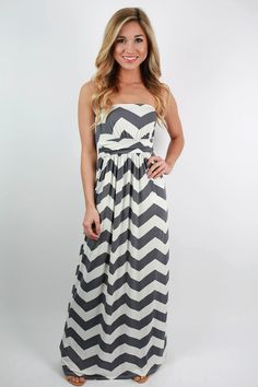 Our best-selling chevron print maxi is back and better than ever! Banded detail at waist creates a flattering silhouette on all body types.