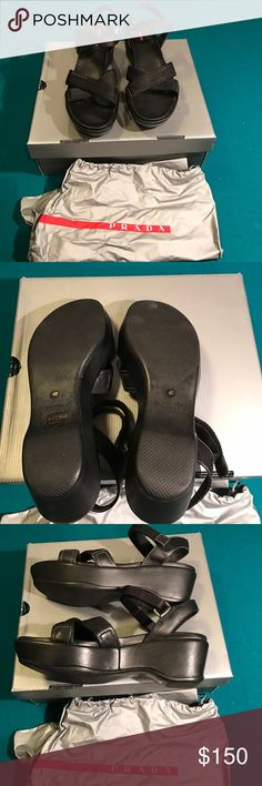 ✨NIB✨ Prada Sandals 40/10usa NWT  Prada sandals. Size 40 /10usa. Nylon logo sandal. Comes with pouch and authenticity cards. Black Nero. Calzature donna. Comes with original box.  authentic.   No trades ✅ Reasonable offers considered   Smoke free home Prada Shoes Sandals