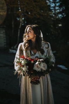Banff Tunnel Mountain Intimate Wedding via Rocky Mountain Bride Winter Mountain Wedding, Snowy Wedding, Winter Wedding Ceremonies, Wedding Ceremony, Winter Wedding Inspiration, Banff, Real Weddings, Nice Dresses, Florals