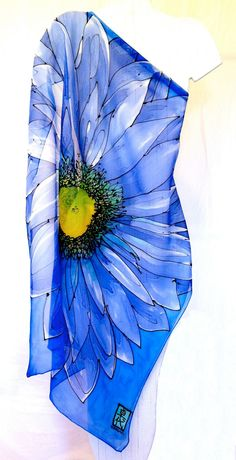 Square Silk Scarf. Hand Painted Blue Silk Scarf. Periwinkle Blue Garbera Floral Scarf. Silk Chiffon Scarf. 34x34 in.. $98.00, via Etsy.