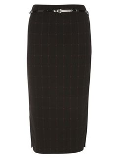 Berry Belted Check Pencil Skirt - View All Sale - Sale & Offers - Dorothy Perkins