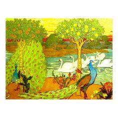 Art Nouveau Peacocks and Swans Postcard