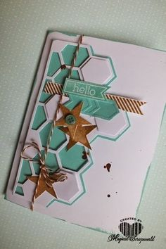 Magical Scrapworld, Stampin' Up! card, Hexagon Hive Thinlit