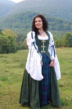 A woman portraying the typical and traditional Irish costume.