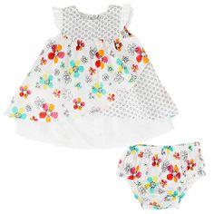 "Koala Baby Girls' 2 Piece White/Black Floral Flutter Sleeve Dress and Diaper Cover Set - Babies R Us - Babies ""R"" Us *3 MONTHS*"