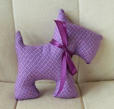 Stuffed Scotty Dog  Purple Diamonds by sewcutebylindsay on Etsy, $5.00