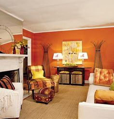 Livingroom Painted in Tangerine-Orange...this would be great in our basement!!