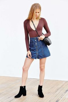Silence + Noise Plunging V-Neck Top - Urban Outfitters