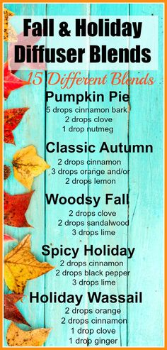 15 Fall Diffuser Blends - Make your home smell delicious with the Best Fall & Holiday Diffuser Blends. Spicy warm smells, essential oils, fall scents, Christmas Diffuser Blends, Autumn scents, #EssentialOils #Fall