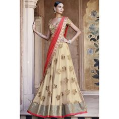 Stylish Cream Net Lehenga Choli with Dupatta - Choli lehenga - Femmes