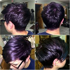 Purple dyed pixie hair cut (That is so not a pixie cut at all, but I ...