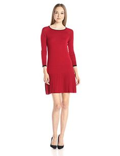 Shoshanna Womens Merino Wool Lisette Sweater Dress Merlot Navy Tipping Large ** To view further for this item, visit the image link.
