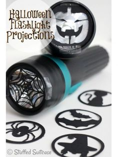 DIY Halloween Flashlight Projections made with Cricut Explore -- The Stuffed Suitcase. Kids will love this Halloween craft idea! Spooky Halloween, Theme Halloween, Halloween Crafts For Kids, Holidays Halloween, Happy Halloween, Easy Halloween Decorations Diy, Halloween Tricks, Halloween Pillows, Halloween Trick Or Treat