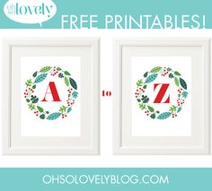 Oh So Lovely Blog: Free printable A-Z holiday monogram free printables