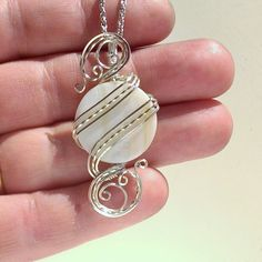 White Shell Pendant Necklace Wire Wrapped Jewelry by EarthArtsNW
