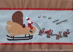 Footprint Sleigh, Fingerprint Santa, and Thumbprint Reindeer Christmas Art - Fun Handprint Art