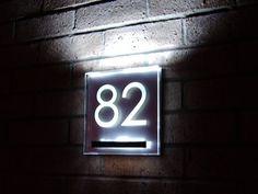 Aurora LED lit house number plaque