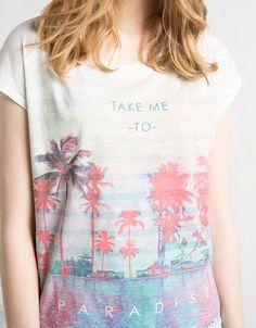 BSK palm tree landscape t-shirt - Woman - Bershka United Kingdom