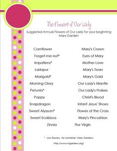 Suggested flowers to plant a Mary Garden.
