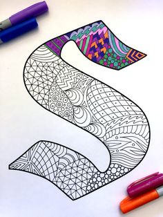 Letter S Zentangle Inspired by the font Deutsch Gothic by DJPenscript (Favorite Fonts Lettering) Doodle Art Drawing, Zentangle Drawings, Mandala Drawing, Mandala Art, Zentangles, Doodle Patterns, Zentangle Patterns, Coloring Books, Coloring Pages