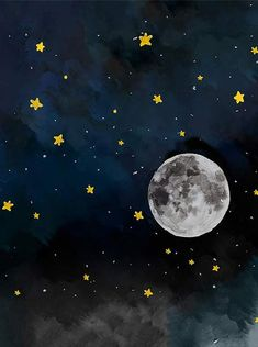 Night Sky Stars Moon Watercolor Backdrop - 6339 - Backdrop Outlet