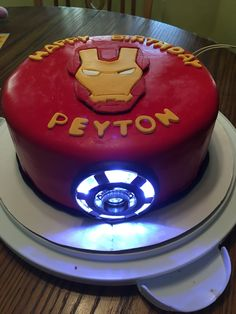 Iron Man Cake with arc reactor