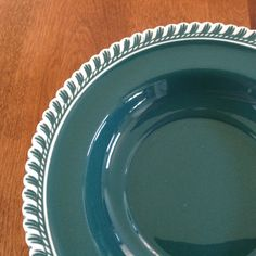 "Four (4) Harker Pottery CORINTHIAN 8"" Pate Sur Pate Ware Gadroon Rimmed Teal Green Soup Bowls by BucketListGarnishes on Etsy"