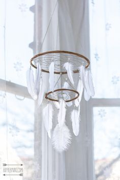 Chandelier Dream Catcher Mobile  White Dream by HippiebyViki