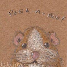 "Cute Guinea Pig ACEO Original Kawaii Illustration 2.5"" x 3.5""  by vintageniki"