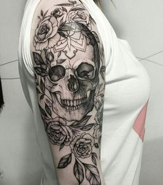 Skull Tattoos for Females: Skull Tattoos are also gaining popularity among women and men. Both sexes like skull tattoos to ink on their bodies. Unique Half Sleeve Tattoos, Skull Sleeve Tattoos, Simple Arm Tattoos, Sugar Skull Tattoos, Sleeve Tattoos For Women, Arm Tattoos For Guys, Unique Tattoos, Tattoo Ink, Feminine Skull Tattoos
