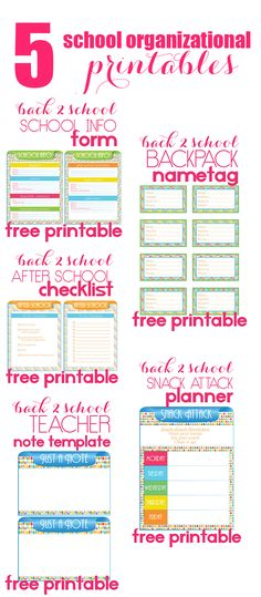 5 Back to School Organizational Printables to help keep things neat and tidy during the school year!