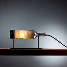 Wine Bottle Table Lamp with Industrial Feel