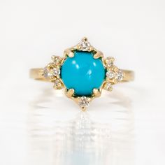 Turquoise Ring with Diamonds - Sleeping Beauty Turquoise and Diamond Ring, 14K Yellow Gold, Turquoise Jewelry, Fine Jewelry by Melanie Casey by MelanieCaseyJewelry on Etsy https://www.etsy.com/listing/223151164/turquoise-ring-with-diamonds-sleeping