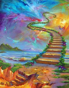 From Hell To Eternity - Jim Warren Studios Heaven Painting, Heaven Art, Vintage Flowers Wallpaper, Beautiful Fantasy Art, Fantasy Paintings, Jesus Pictures, Fantasy Landscape, Anime Scenery, Painting Inspiration