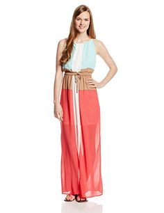 My Michelle Juniors Color Block Chiffon Sleeveless Maxi Dress with Tie String, Coral, Large