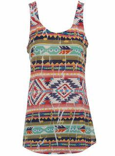 Multi aztec print vest