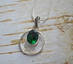Green quartz necklace emerald gemstone pendant by BonfireVintage, $16.80 Emerald Gemstone, Gemstone Colors, Gemstone Jewelry, Quartz Necklace, Stone Necklace, Pendant Necklace, Prasiolite, Green Quartz, Faceted Crystal