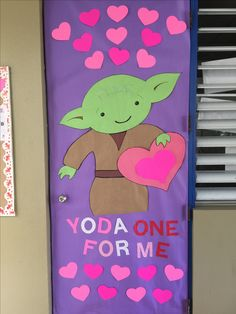 Valentine S Door Decorations Star Wars Yoda Classroom Decor Star Wars Classroom, Classroom Themes, Classroom Door Decorations, Classroom Board, Door Bulletin Boards, Holiday Classrooms, Classroom Projects, Classroom Activities, Valentines Day Decorations