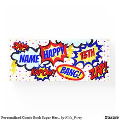 Personalized Comic Book Super Hero Party Banner Great Gifts For Guys, Outdoor Banners, Word Out, Superhero Party, Create Your Own, Birthdays, Anniversary, Comic Books, How To Get