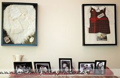Baby clothes, blankets and pictures framed and used as wedding decoration. wedding-ideas