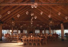 here's a dramatic barn....with a fireplace, the huge wreath looks great!