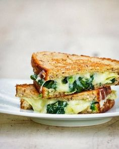 Grilled Cheesus: Swiss Gorgonzola Cheese Sandwich w/ Sauteed Spinach, Mushrooms, & Onion