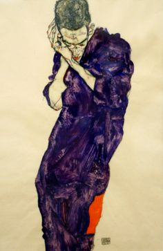 Egon Schiele Young Man in Purple Robe with Clasped Hands, 1914