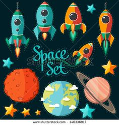 collection of spaceship, planets and stars - stock vector