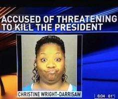 Best Mugshot Ever - Accused of Threatening to Kill the President - Mug Shot Fail  ---- best hilarious jokes funny pictures walmart humor fail