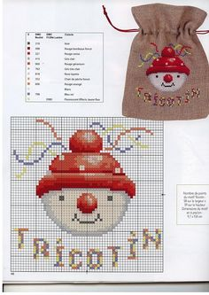 Love the idea of the sack Xmas Cross Stitch, Cross Stitch Love, Cross Stitch Needles, Cross Stitch Charts, Cross Stitching, Cross Stitch Embroidery, Cross Stitch Patterns, Embroidery Patterns, Cross Stitch Numbers