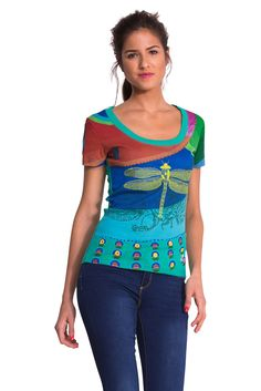 Desigual Women's Round Short Sleeve T-Shirt - Green - Grün (Verde Napoles - 14 Moda Zara, Fashion Over 50 Blog, Zara Mode, S Icon, Zara Fashion, Colourful Outfits, Ideias Fashion, Shirts, Pullover