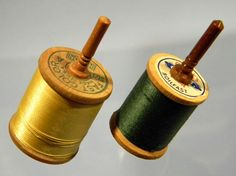 2 Toy Spinning Tops made from Vintage Thread Spools and by TopJosh